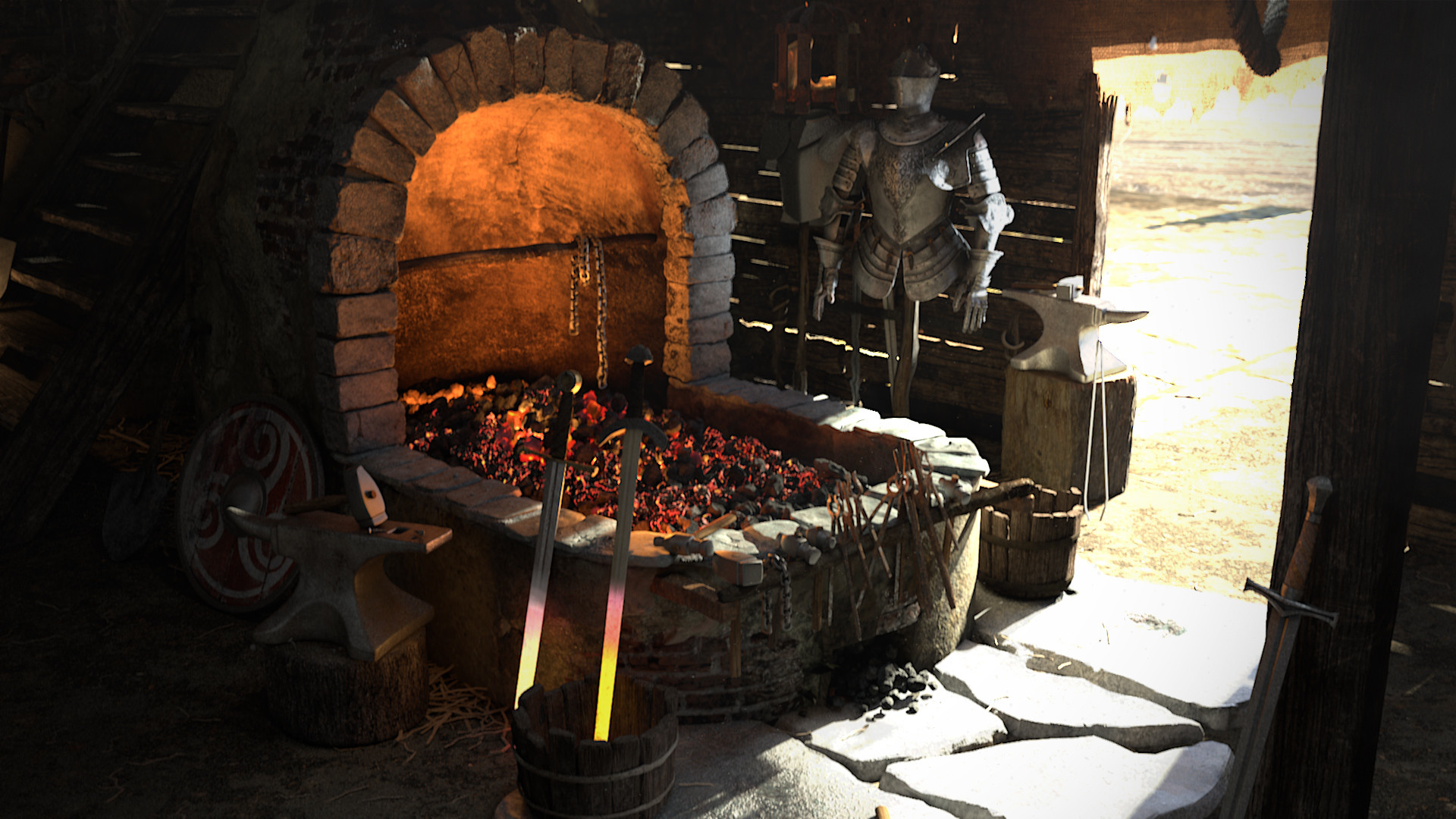 Old fashioned blacksmith forge 11